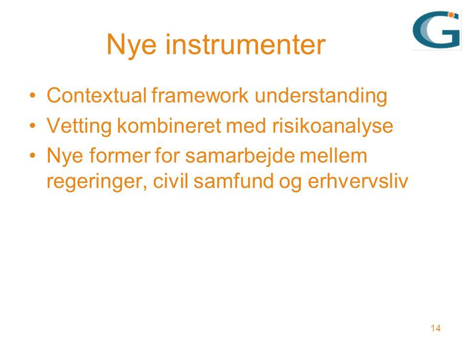 Nye instrumenter Contextual framework understanding Vetting kombineret med risikoanalyse Nye former for samarbejde mellem regeringer, civil samfund og erhvervsliv 14