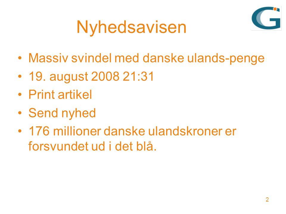 Nyhedsavisen Massiv svindel med danske ulands-penge 19.
