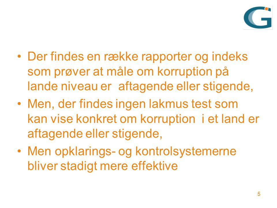 Der findes en række rapporter og indeks som prøver at måle om korruption på lande niveau er aftagende eller stigende, Men, der findes ingen lakmus test som kan vise konkret om korruption i et land er aftagende eller stigende, Men opklarings- og kontrolsystemerne bliver stadigt mere effektive 5