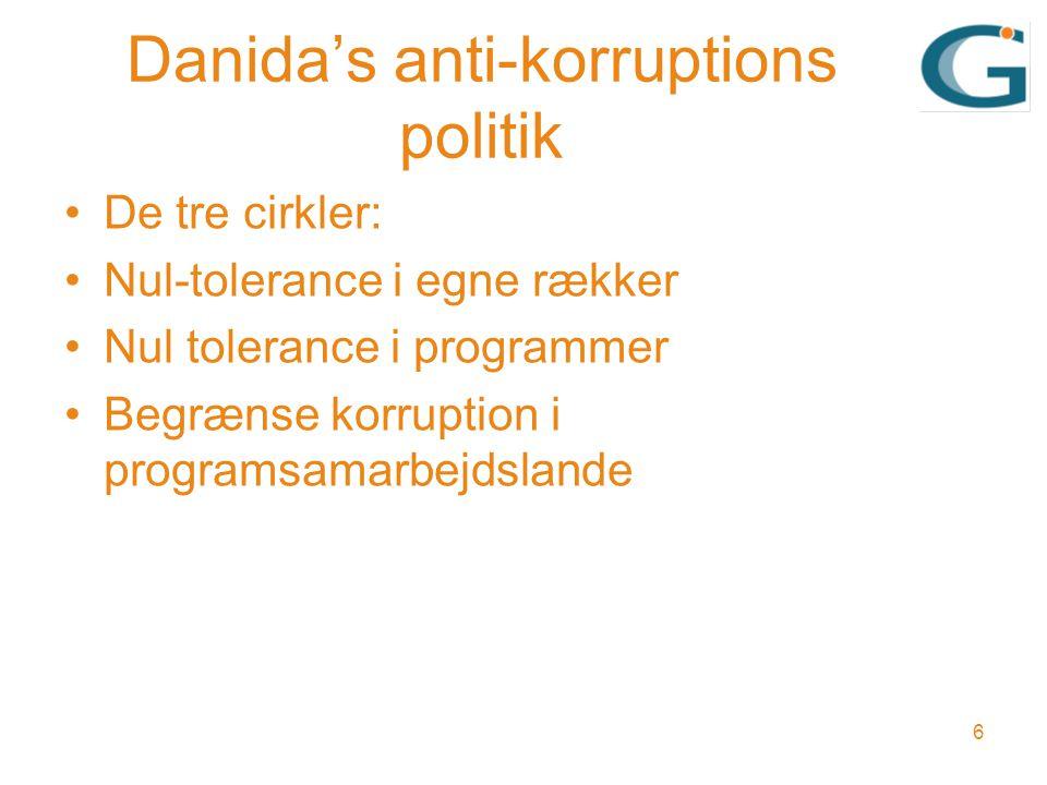 Danida's anti-korruptions politik De tre cirkler: Nul-tolerance i egne rækker Nul tolerance i programmer Begrænse korruption i programsamarbejdslande 6