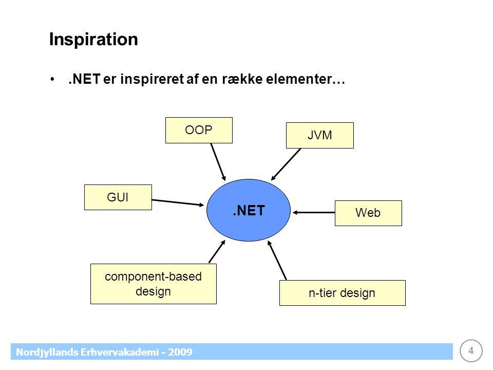 4 Nordjyllands Erhvervakademi - 2009 Inspiration.NET er inspireret af en række elementer….NET OOP JVM GUI Web component-based design n-tier design