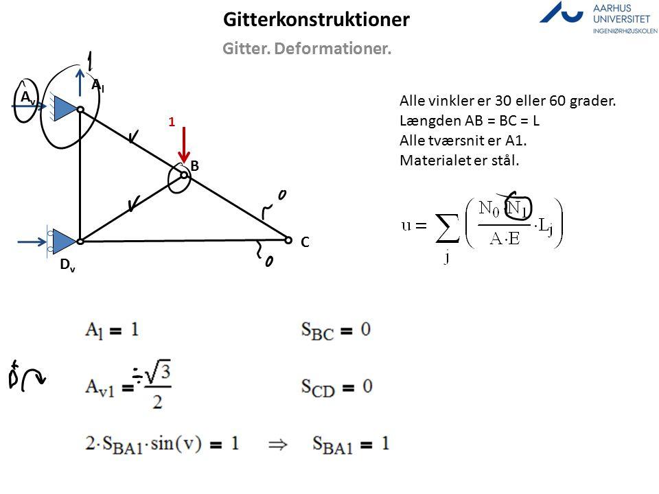 Gitterkonstruktioner Gitter.Deformationer. Alle vinkler er 30 eller 60 grader.