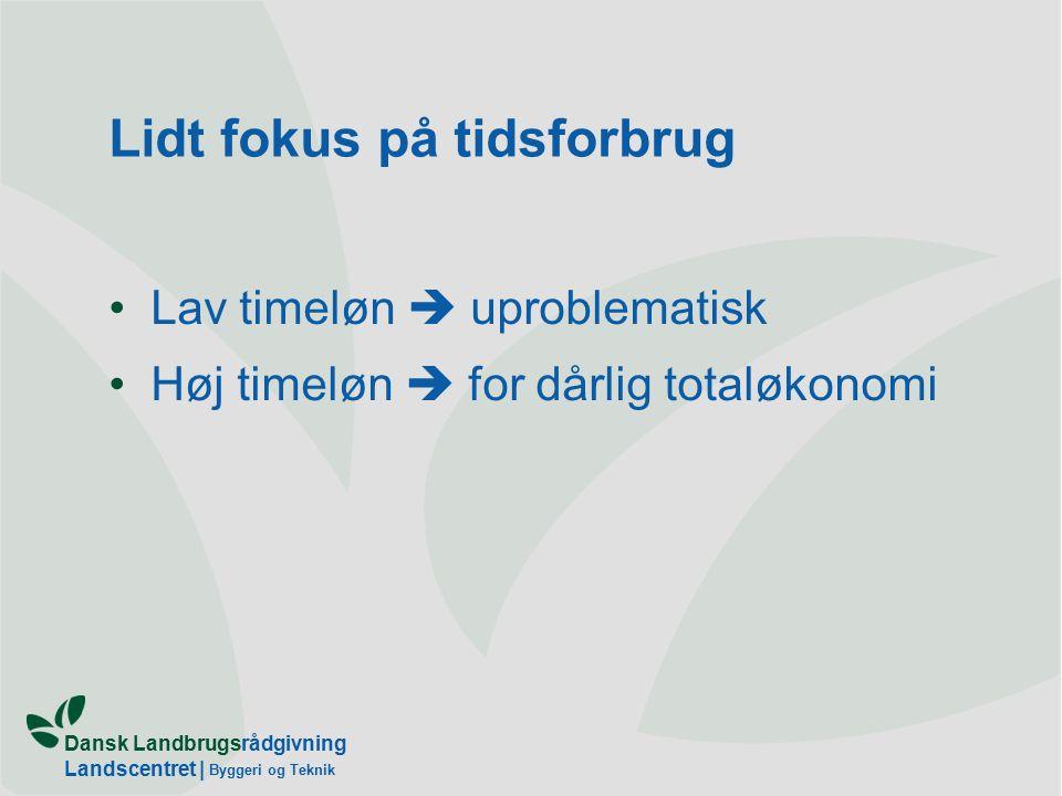 Dansk Landbrugsrådgivning Landscentret | Byggeri og Teknik Lidt fokus på tidsforbrug Lav timeløn  uproblematisk Høj timeløn  for dårlig totaløkonomi
