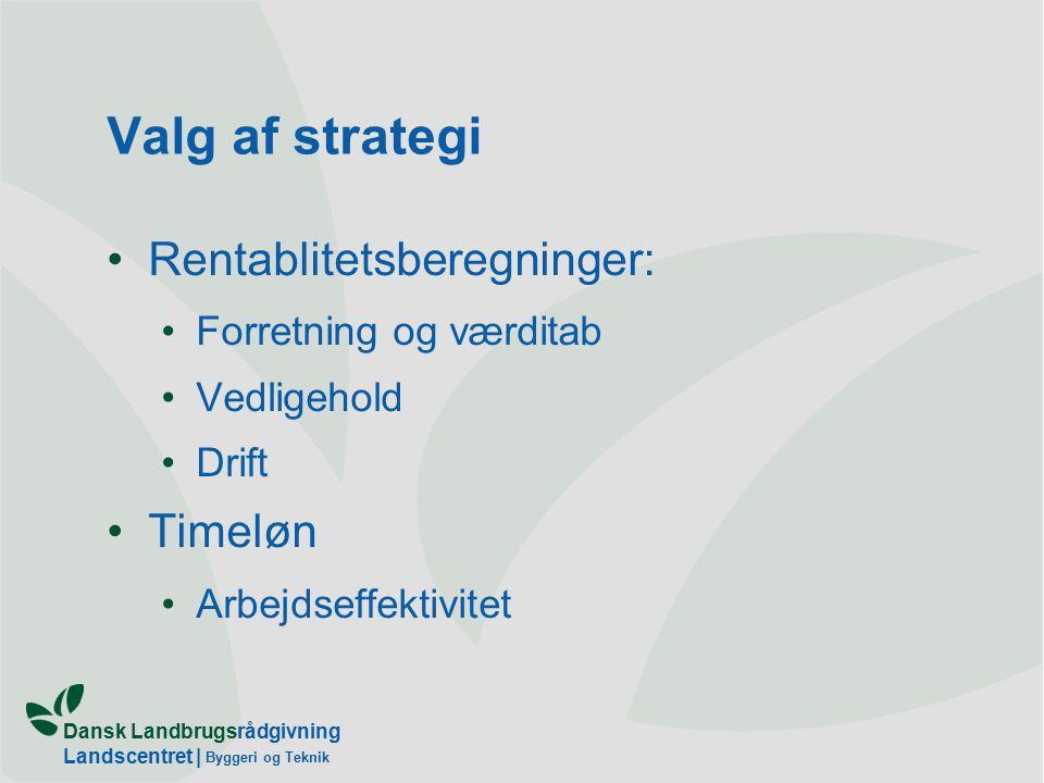 Dansk Landbrugsrådgivning Landscentret | Byggeri og Teknik Valg af strategi Rentablitetsberegninger: Forretning og værditab Vedligehold Drift Timeløn Arbejdseffektivitet