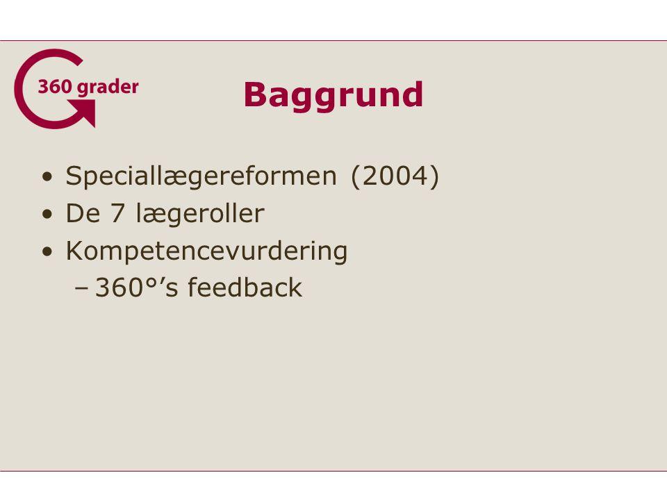 Baggrund Speciallægereformen (2004) De 7 lægeroller Kompetencevurdering –360°'s feedback