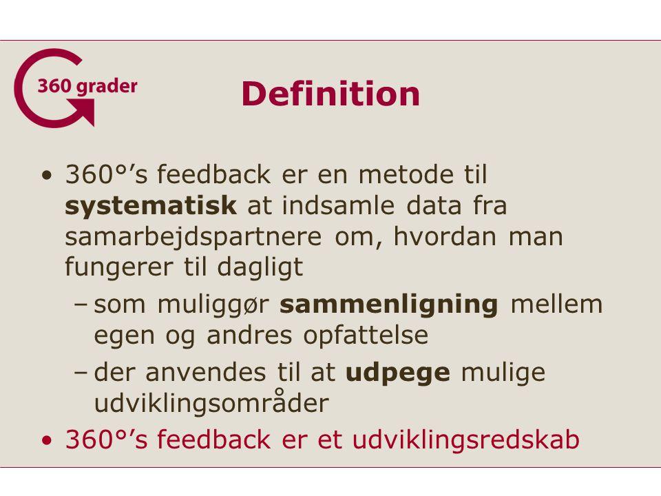 Definition 360°'s feedback er en metode til systematisk at indsamle data fra samarbejdspartnere om, hvordan man fungerer til dagligt –som muliggør sammenligning mellem egen og andres opfattelse –der anvendes til at udpege mulige udviklingsområder 360°'s feedback er et udviklingsredskab