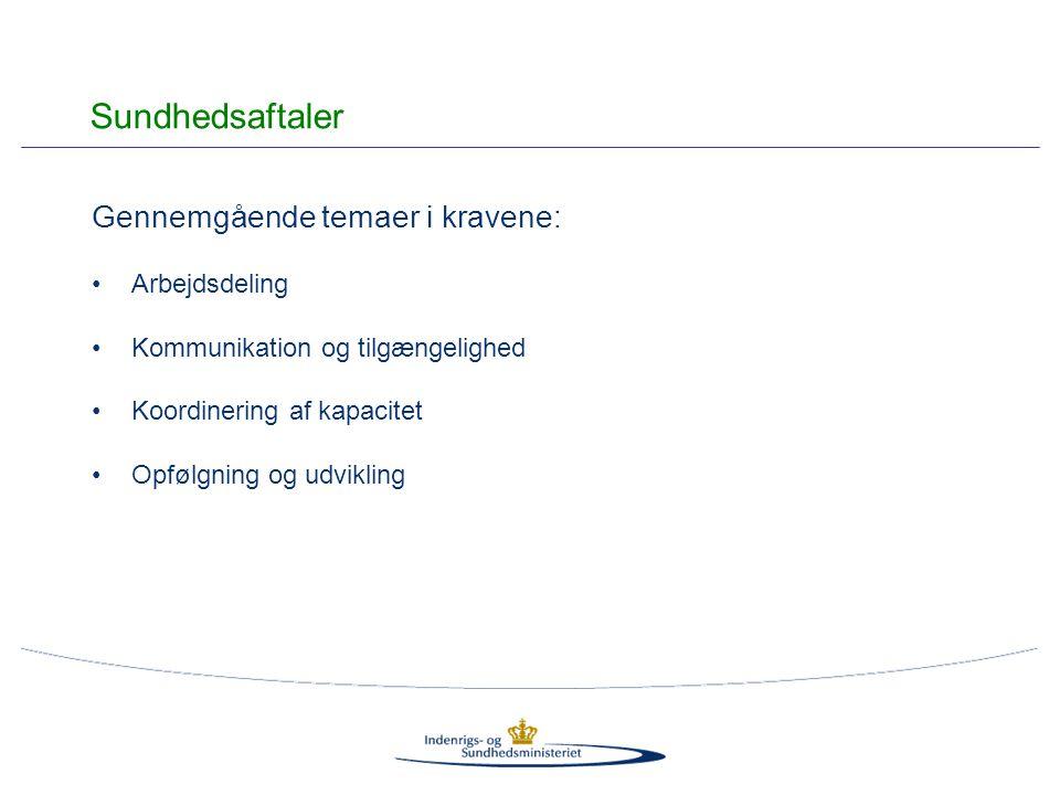 Gennemgående temaer i kravene: Arbejdsdeling Kommunikation og tilgængelighed Koordinering af kapacitet Opfølgning og udvikling Sundhedsaftaler