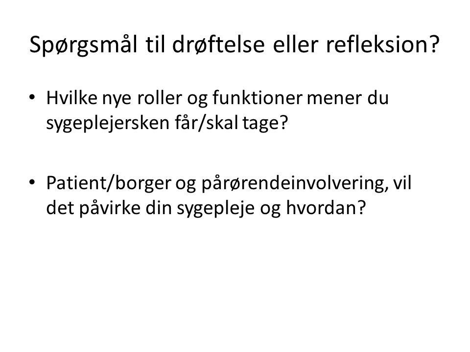 Spørgsmål til drøftelse eller refleksion.