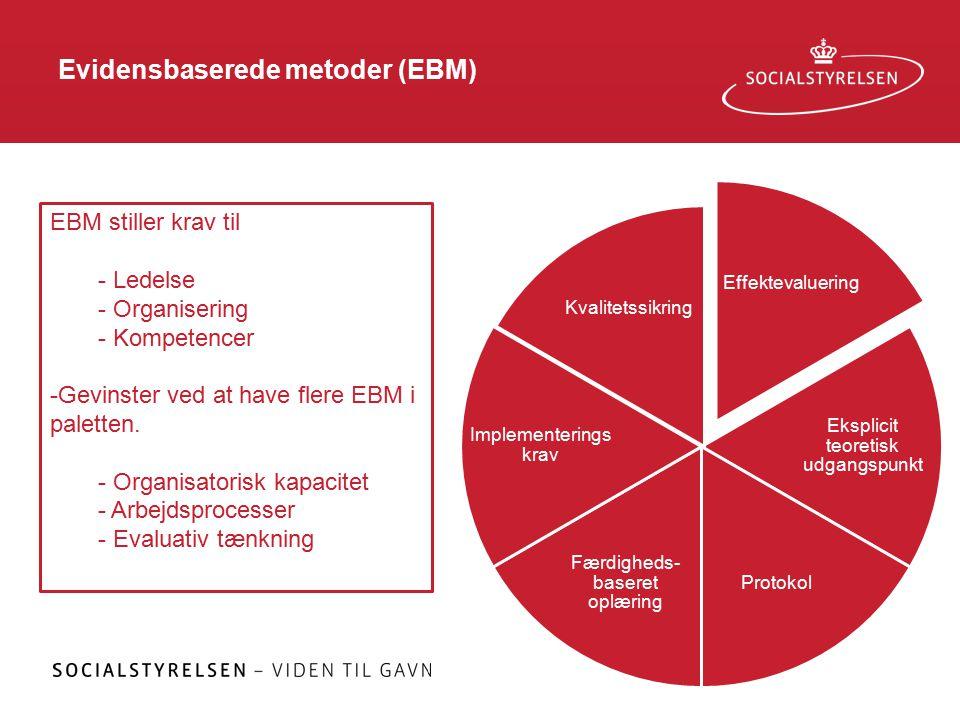 Evidensbaserede metoder (EBM) Effektevaluering Eksplicit teoretisk udgangspunkt Protokol Færdigheds- baseret oplæring Implementerings krav Kvalitetssikring EBM stiller krav til - Ledelse - Organisering - Kompetencer -Gevinster ved at have flere EBM i paletten.
