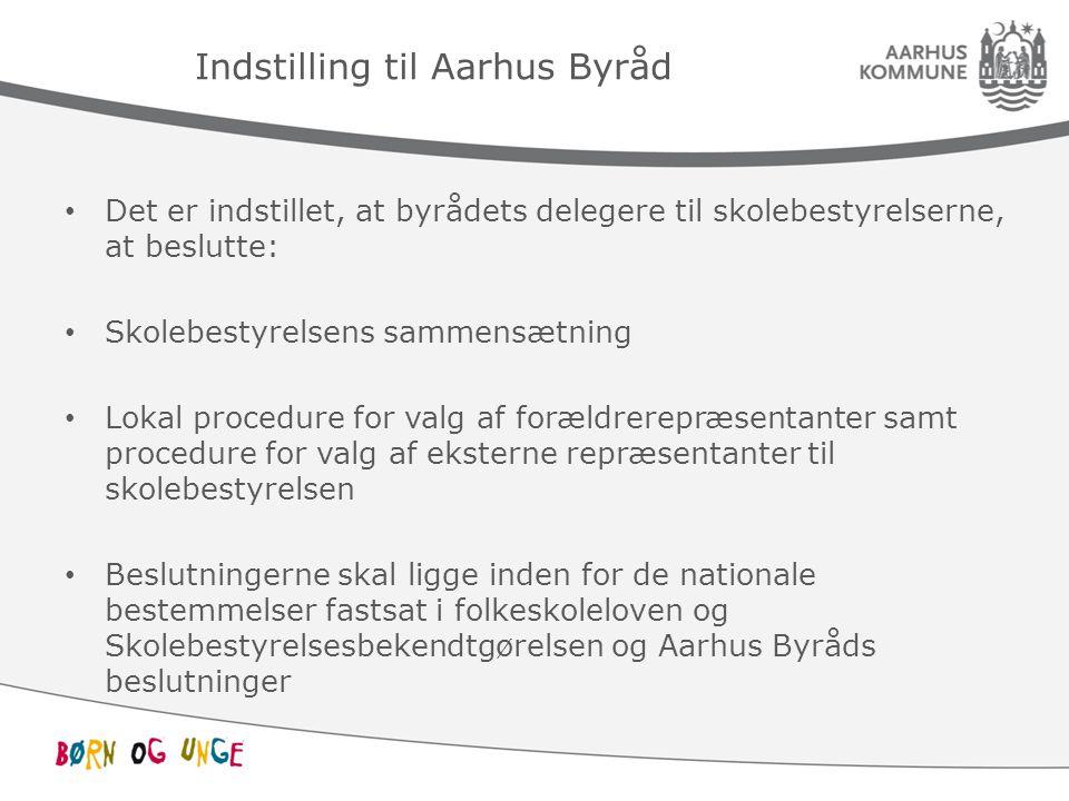 Indstilling til Aarhus Byråd Det er indstillet, at byrådets delegere til skolebestyrelserne, at beslutte: Skolebestyrelsens sammensætning Lokal procedure for valg af forældrerepræsentanter samt procedure for valg af eksterne repræsentanter til skolebestyrelsen Beslutningerne skal ligge inden for de nationale bestemmelser fastsat i folkeskoleloven og Skolebestyrelsesbekendtgørelsen og Aarhus Byråds beslutninger