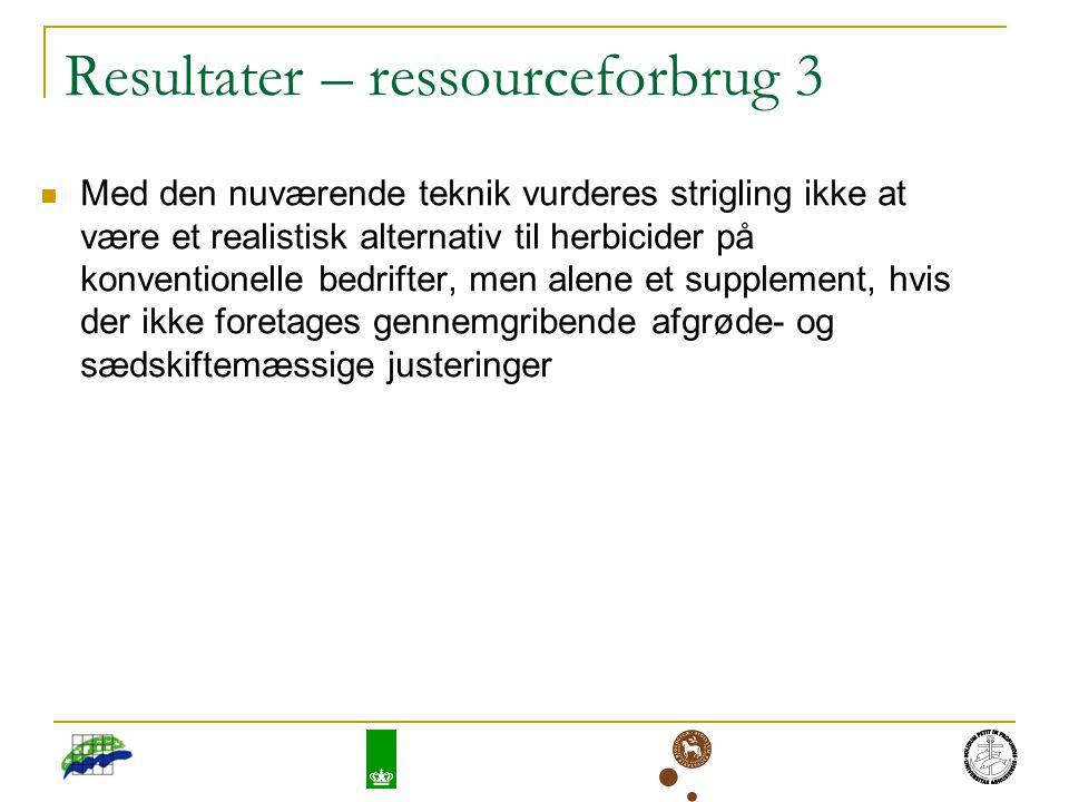 Resultater – ressourceforbrug 3 Med den nuværende teknik vurderes strigling ikke at være et realistisk alternativ til herbicider på konventionelle bedrifter, men alene et supplement, hvis der ikke foretages gennemgribende afgrøde- og sædskiftemæssige justeringer