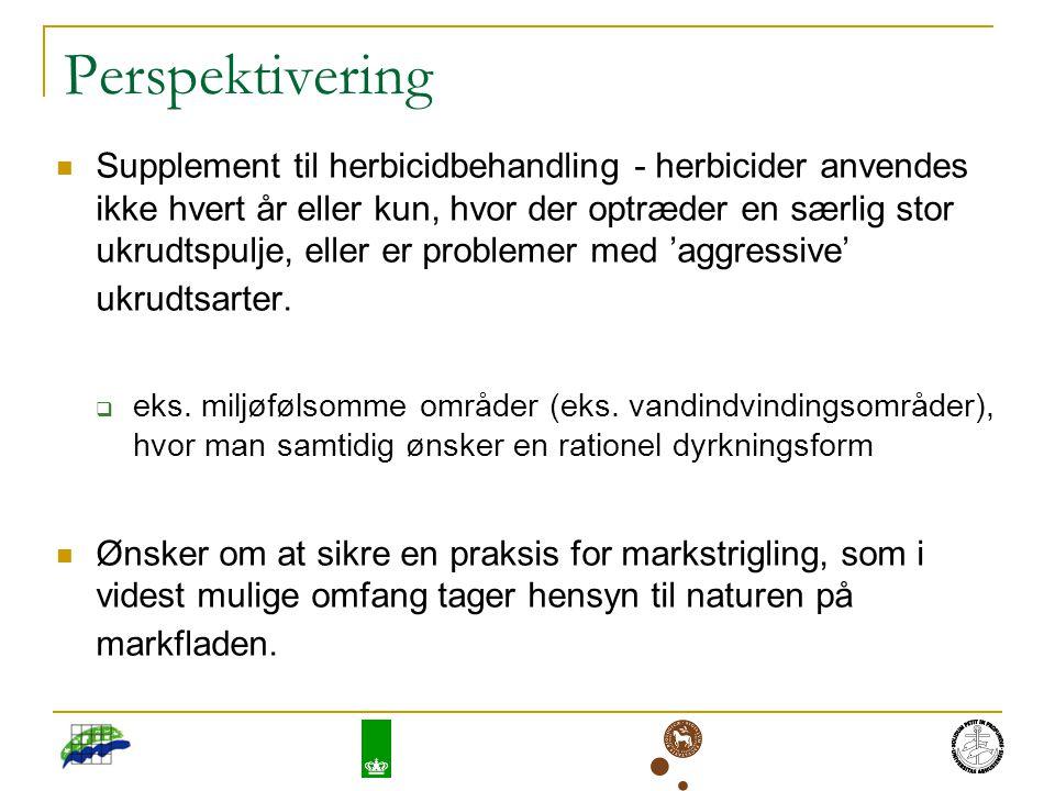 Perspektivering Supplement til herbicidbehandling - herbicider anvendes ikke hvert år eller kun, hvor der optræder en særlig stor ukrudtspulje, eller er problemer med 'aggressive' ukrudtsarter.