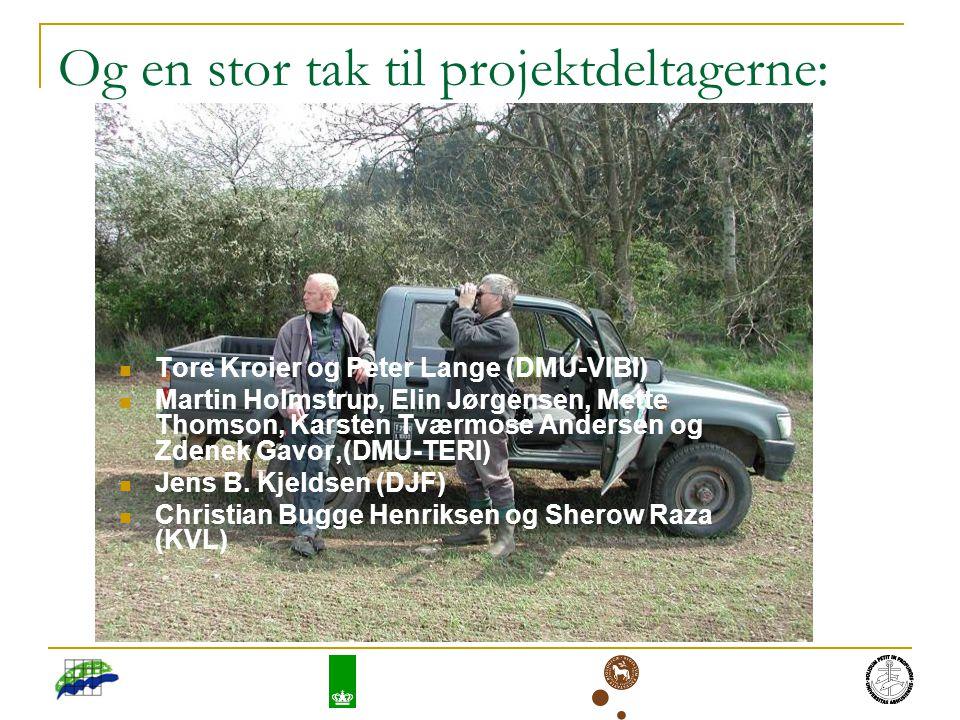 Og en stor tak til projektdeltagerne: Tore Kroier og Peter Lange (DMU-VIBI) Martin Holmstrup, Elin Jørgensen, Mette Thomson, Karsten Tværmose Andersen og Zdenek Gavor,(DMU-TERI) Jens B.