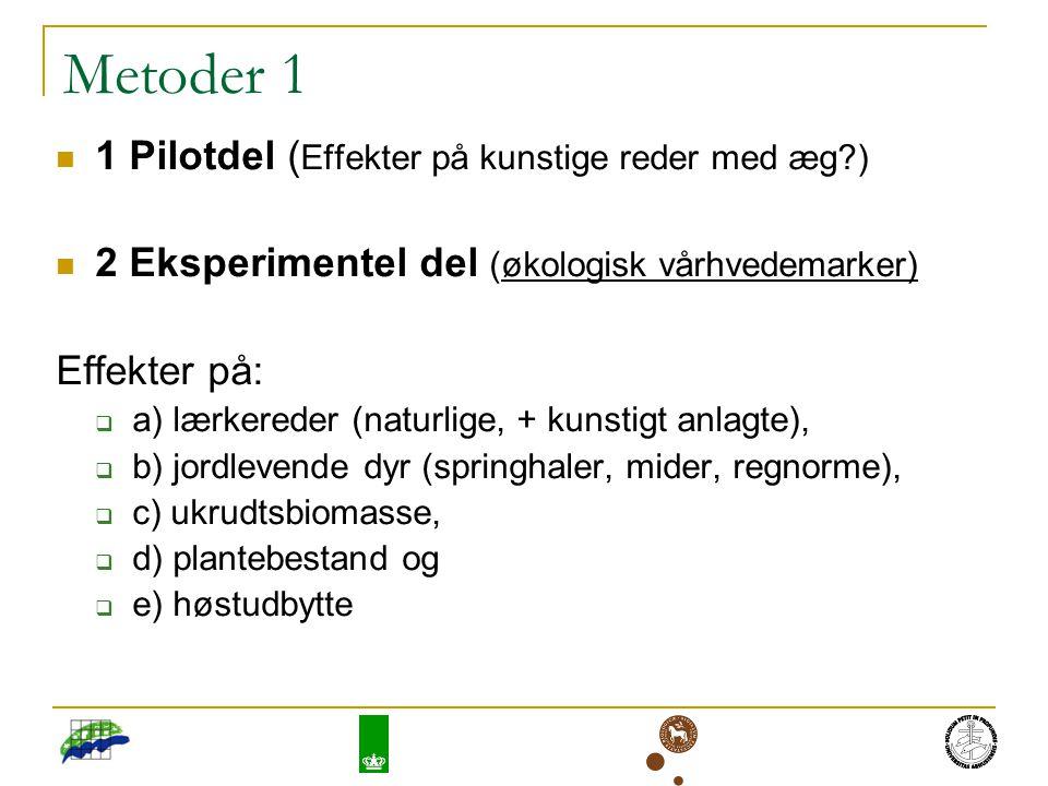 Metoder 1 1 Pilotdel ( Effekter på kunstige reder med æg ) 2 Eksperimentel del (økologisk vårhvedemarker) Effekter på:  a) lærkereder (naturlige, + kunstigt anlagte),  b) jordlevende dyr (springhaler, mider, regnorme),  c) ukrudtsbiomasse,  d) plantebestand og  e) høstudbytte