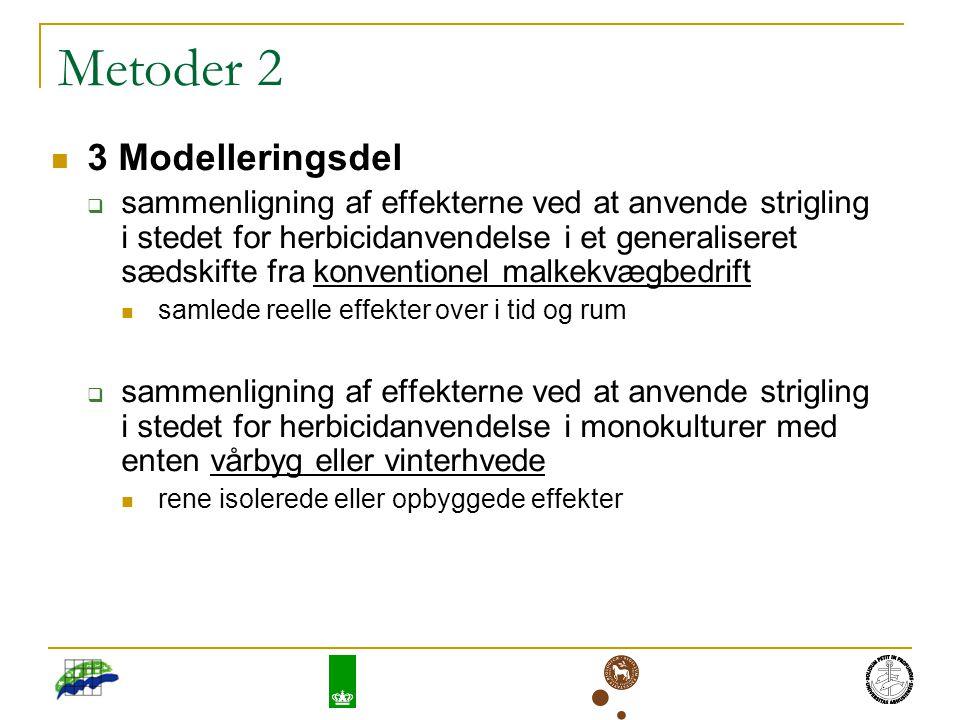 Metoder 2 3 Modelleringsdel  sammenligning af effekterne ved at anvende strigling i stedet for herbicidanvendelse i et generaliseret sædskifte fra konventionel malkekvægbedrift samlede reelle effekter over i tid og rum  sammenligning af effekterne ved at anvende strigling i stedet for herbicidanvendelse i monokulturer med enten vårbyg eller vinterhvede rene isolerede eller opbyggede effekter
