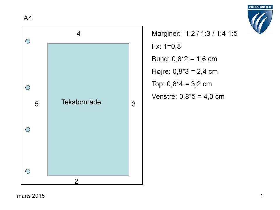 marts 20151 A4 2 3 4 5 Tekstområde Marginer: 1:2 / 1:3 / 1:4 1:5 Fx: 1=0,8 Bund: 0,8*2 = 1,6 cm Højre: 0,8*3 = 2,4 cm Top: 0,8*4 = 3,2 cm Venstre: 0,8*5 = 4,0 cm