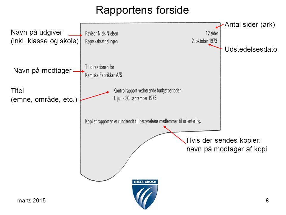 marts 20158 Titel (emne, område, etc.) Udstedelsesdato Navn på modtager Navn på udgiver (inkl.