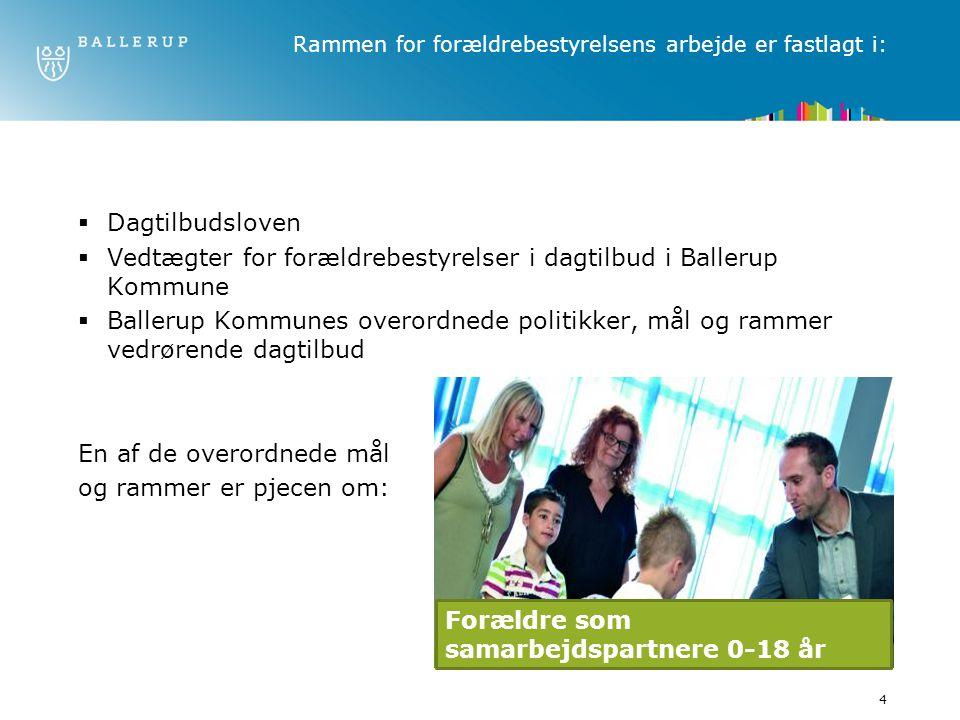 4 Rammen for forældrebestyrelsens arbejde er fastlagt i:  Dagtilbudsloven  Vedtægter for forældrebestyrelser i dagtilbud i Ballerup Kommune  Ballerup Kommunes overordnede politikker, mål og rammer vedrørende dagtilbud En af de overordnede mål og rammer er pjecen om: Forældre som samarbejdspartnere 0-18 år