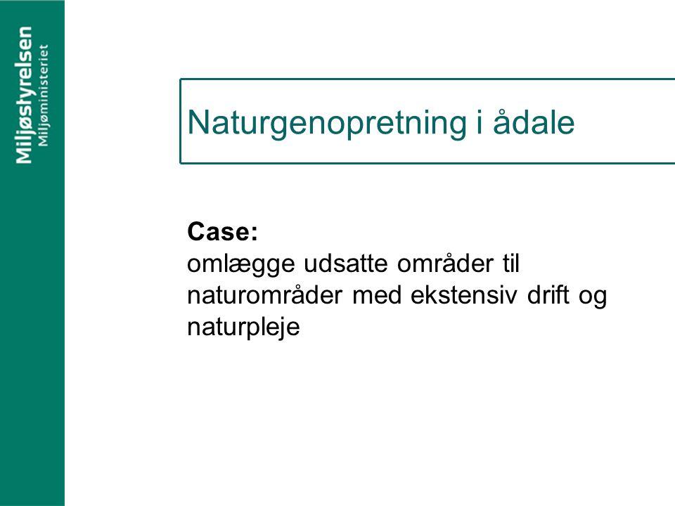 Naturgenopretning i ådale Case: omlægge udsatte områder til naturområder med ekstensiv drift og naturpleje