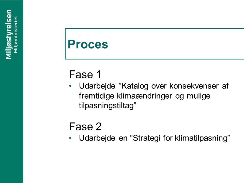 Proces Fase 1 Udarbejde Katalog over konsekvenser af fremtidige klimaændringer og mulige tilpasningstiltag Fase 2 Udarbejde en Strategi for klimatilpasning