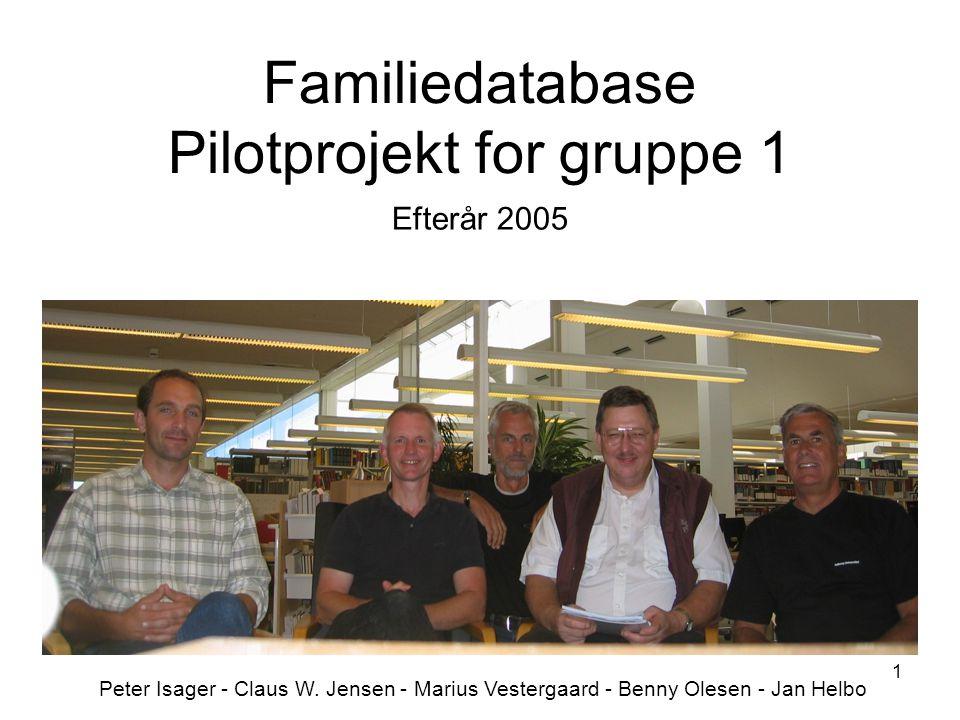 1 Familiedatabase Pilotprojekt for gruppe 1 Efterår 2005 Peter Isager - Claus W.