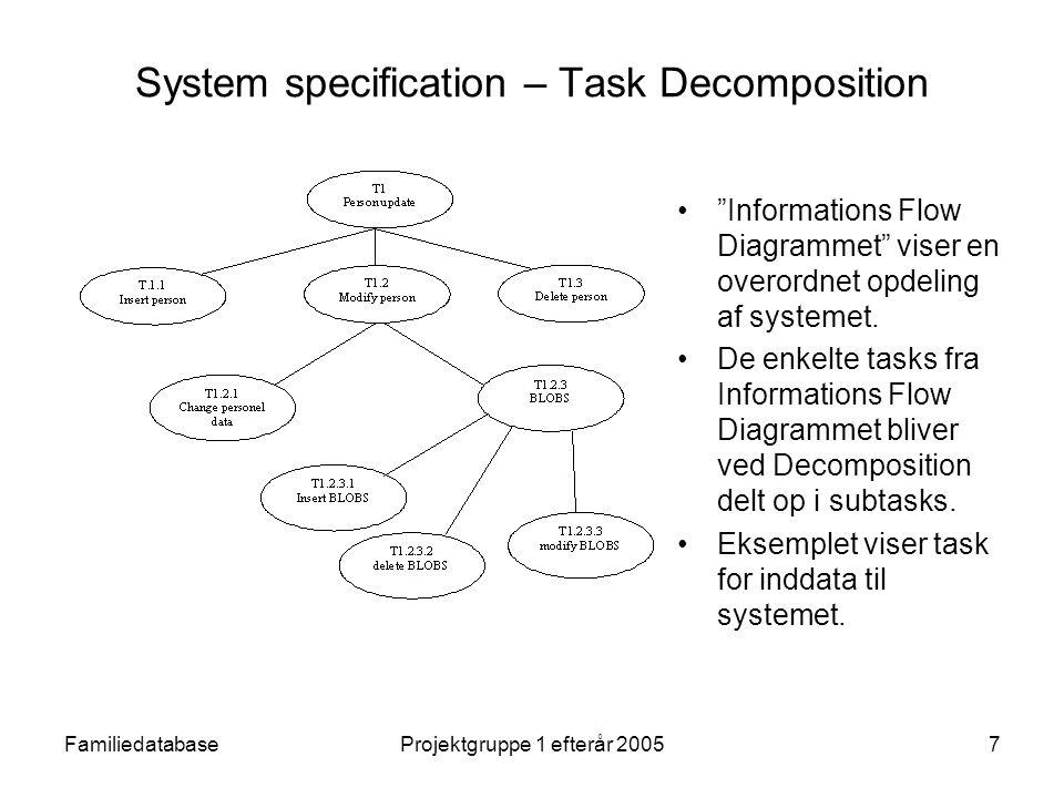 FamiliedatabaseProjektgruppe 1 efterår 20057 System specification – Task Decomposition Informations Flow Diagrammet viser en overordnet opdeling af systemet.