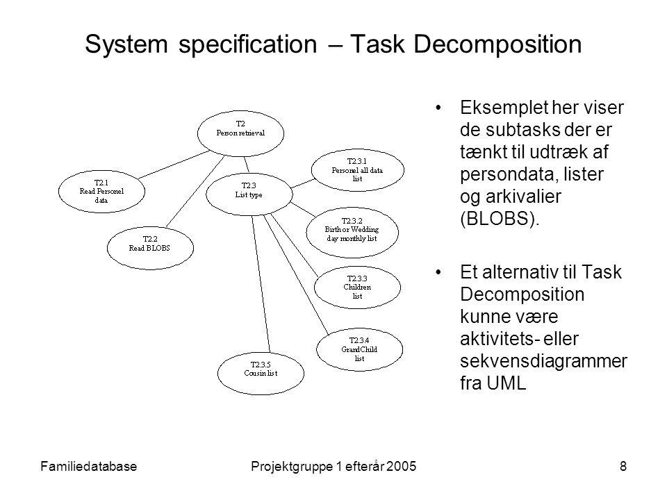FamiliedatabaseProjektgruppe 1 efterår 20058 System specification – Task Decomposition Eksemplet her viser de subtasks der er tænkt til udtræk af persondata, lister og arkivalier (BLOBS).