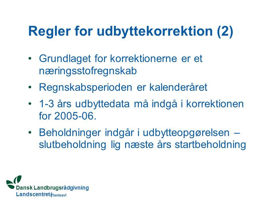 Dansk Landbrugsrådgivning Landscentret | Planteavl Regler for udbyttekorrektion (2) Grundlaget for korrektionerne er et næringsstofregnskab Regnskabsperioden er kalenderåret 1-3 års udbyttedata må indgå i korrektionen for 2005-06.