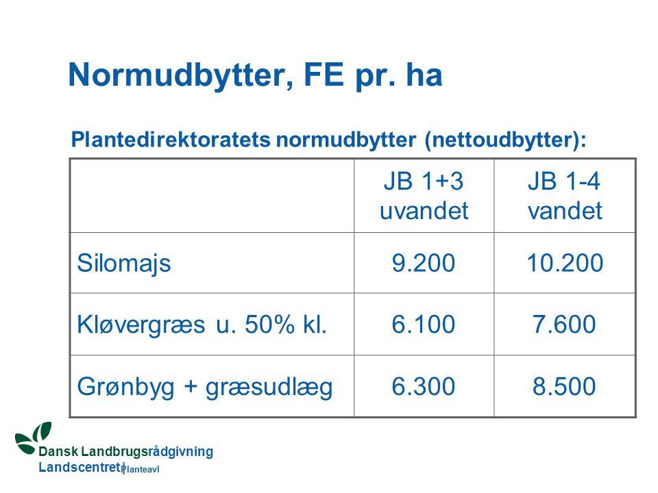 Dansk Landbrugsrådgivning Landscentret | Planteavl Normudbytter, FE pr.