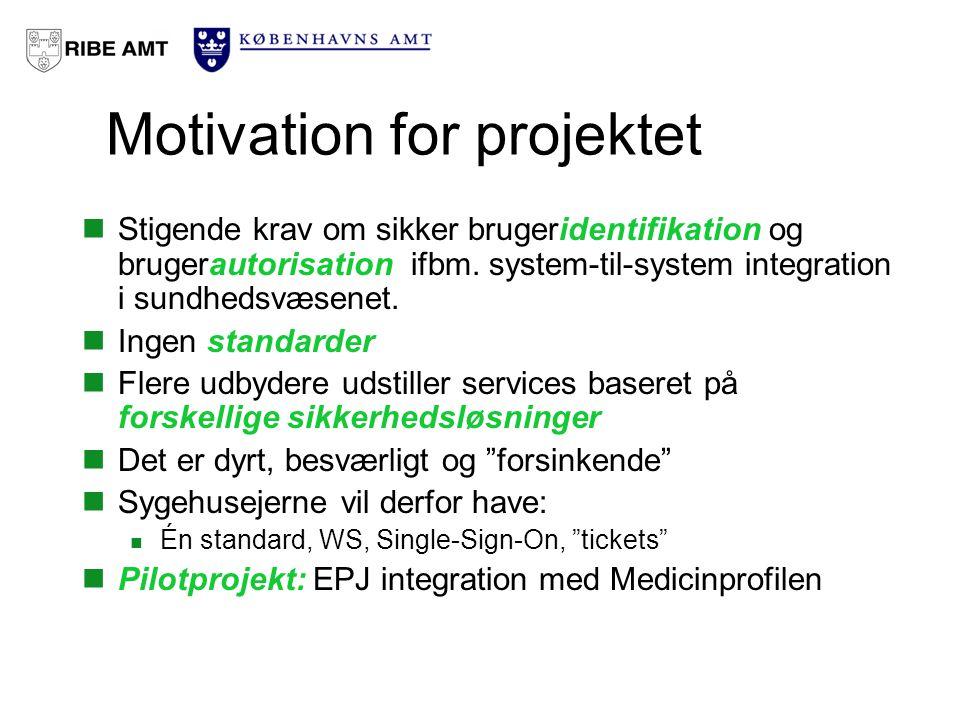 Motivation for projektet Stigende krav om sikker brugeridentifikation og brugerautorisation ifbm.
