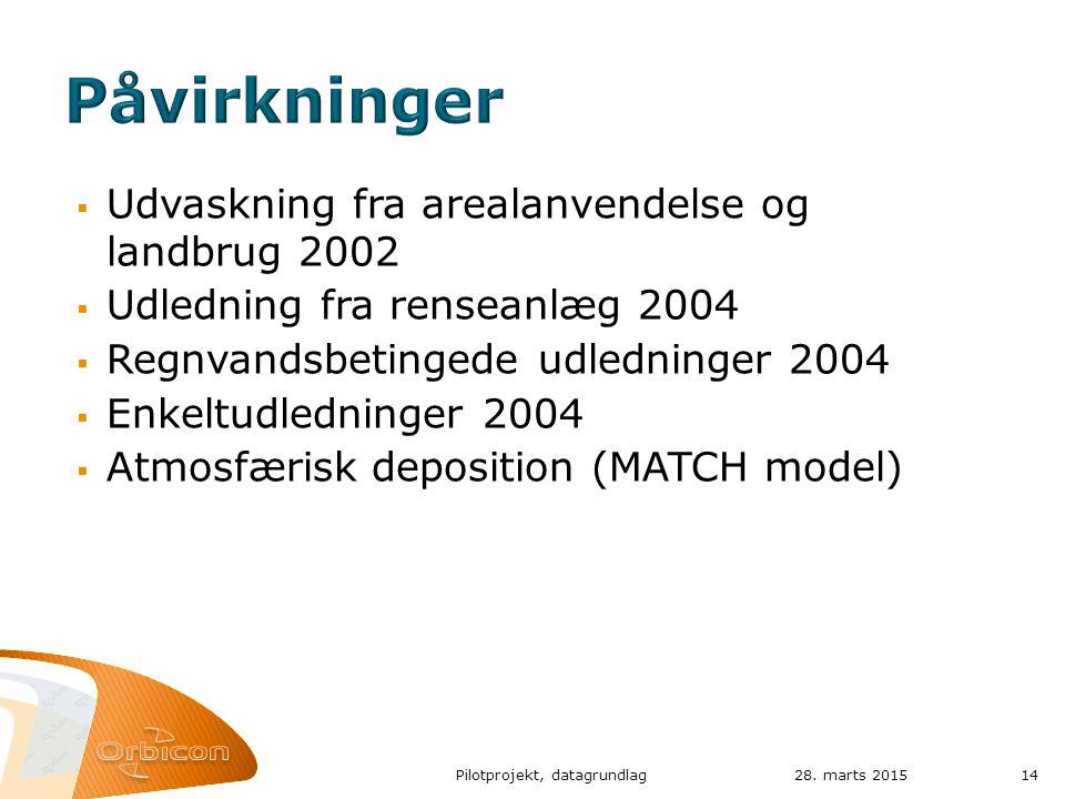  Udvaskning fra arealanvendelse og landbrug 2002  Udledning fra renseanlæg 2004  Regnvandsbetingede udledninger 2004  Enkeltudledninger 2004  Atmosfærisk deposition (MATCH model) 28.