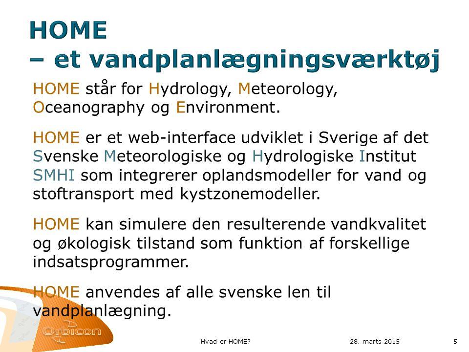 HOME står for Hydrology, Meteorology, Oceanography og Environment.