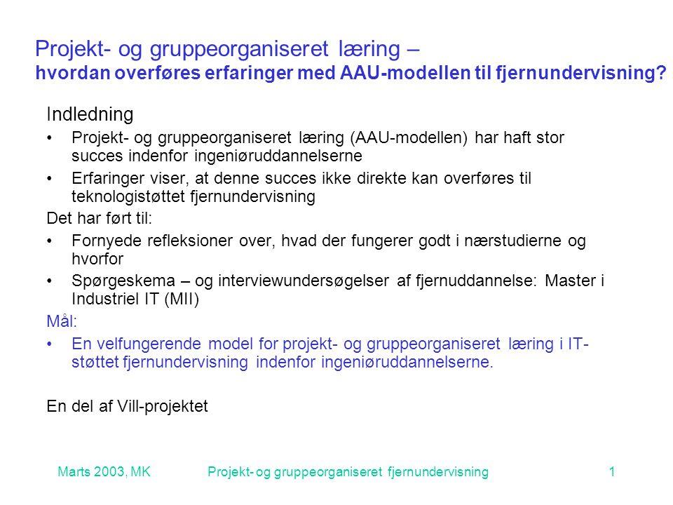 Marts 2003, MKProjekt- og gruppeorganiseret fjernundervisning1 Projekt- og gruppeorganiseret læring – hvordan overføres erfaringer med AAU-modellen til fjernundervisning.