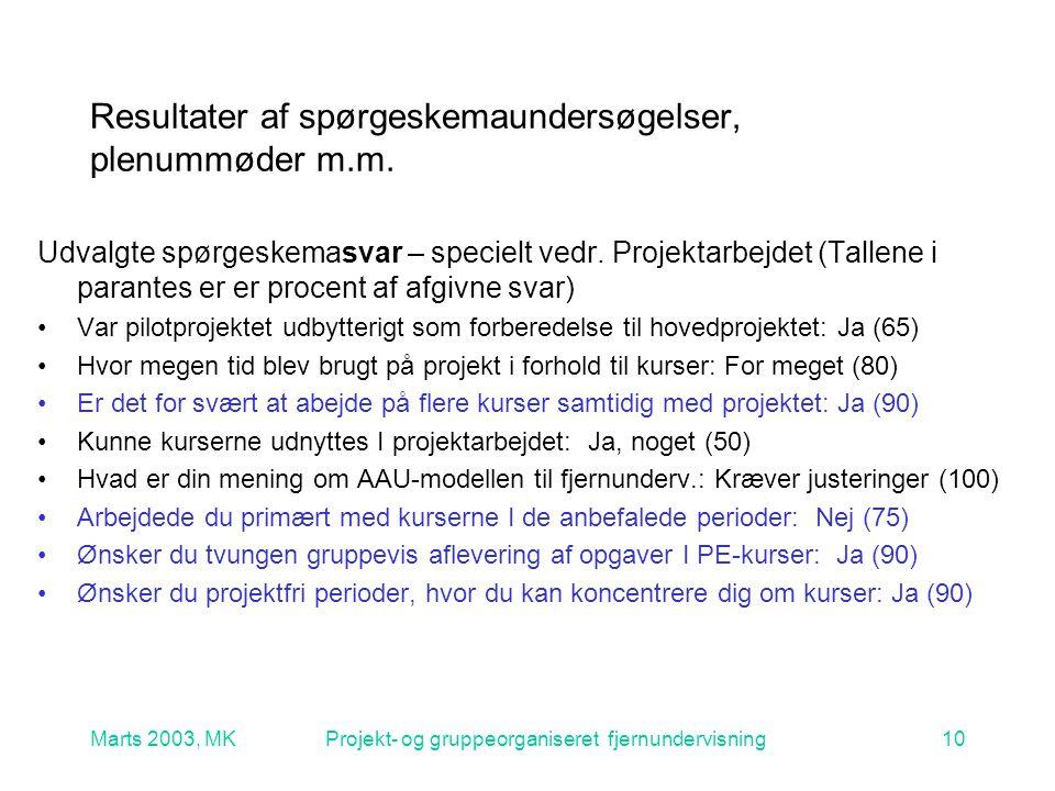 Marts 2003, MKProjekt- og gruppeorganiseret fjernundervisning10 Resultater af spørgeskemaundersøgelser, plenummøder m.m.
