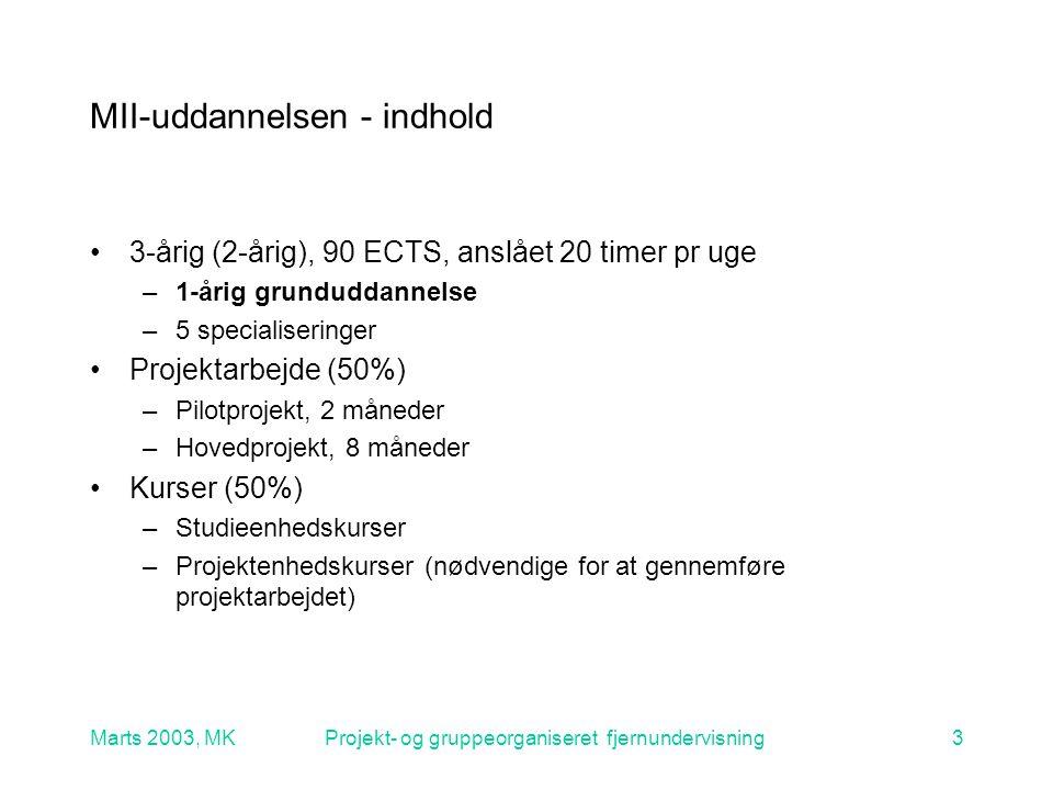 Marts 2003, MKProjekt- og gruppeorganiseret fjernundervisning3 MII-uddannelsen - indhold 3-årig (2-årig), 90 ECTS, anslået 20 timer pr uge –1-årig grunduddannelse –5 specialiseringer Projektarbejde (50%) –Pilotprojekt, 2 måneder –Hovedprojekt, 8 måneder Kurser (50%) –Studieenhedskurser –Projektenhedskurser (nødvendige for at gennemføre projektarbejdet)