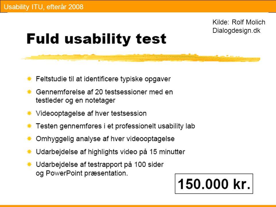 Usability ITU, efterår 2008 11 Kilde: Rolf Molich Dialogdesign.dk