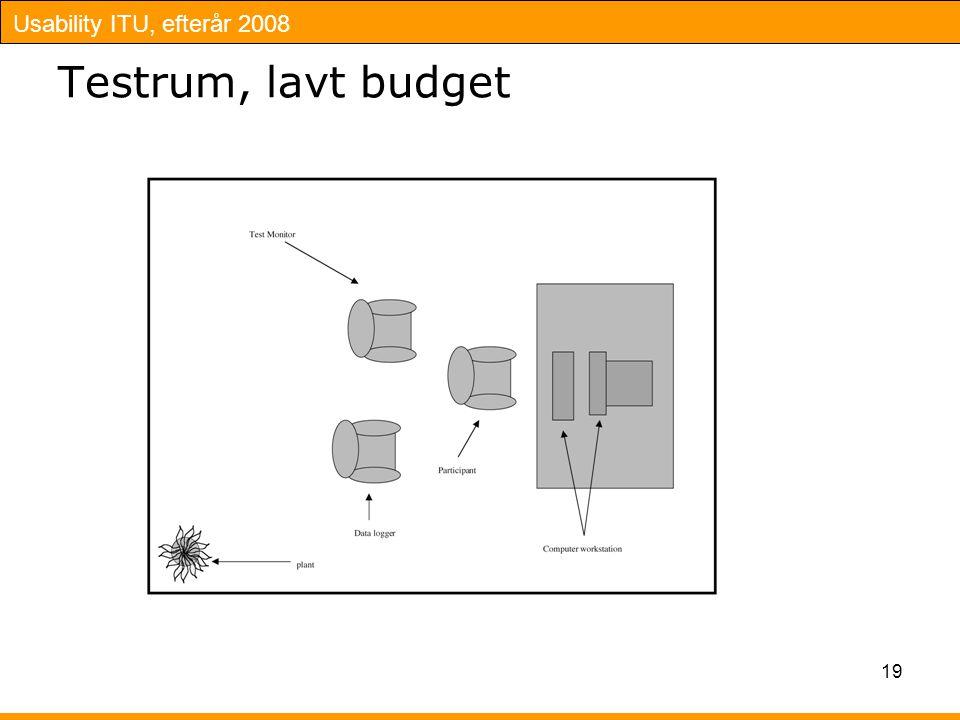 Usability ITU, efterår 2008 19 Testrum, lavt budget