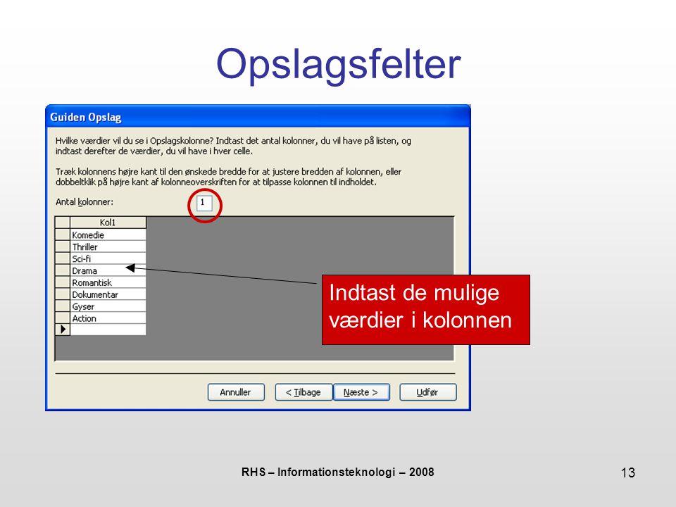 RHS – Informationsteknologi – 2008 13 Opslagsfelter Indtast de mulige værdier i kolonnen