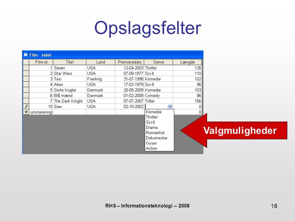 RHS – Informationsteknologi – 2008 16 Opslagsfelter Valgmuligheder