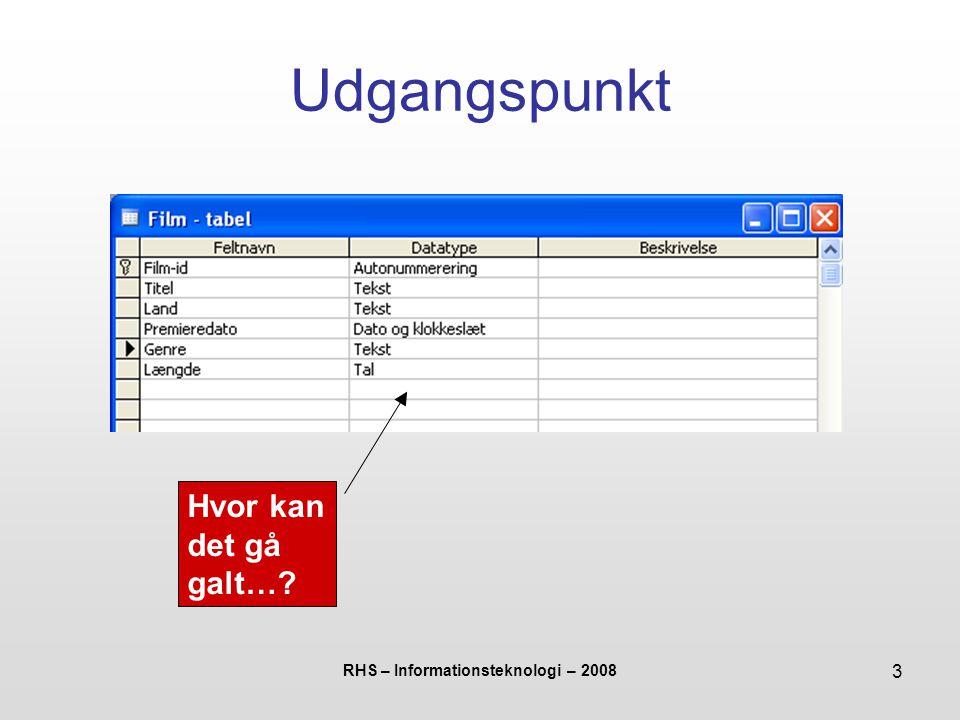 RHS – Informationsteknologi – 2008 3 Udgangspunkt Hvor kan det gå galt…