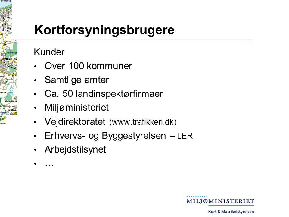 Kortforsyningsbrugere Kunder Over 100 kommuner Samtlige amter Ca.