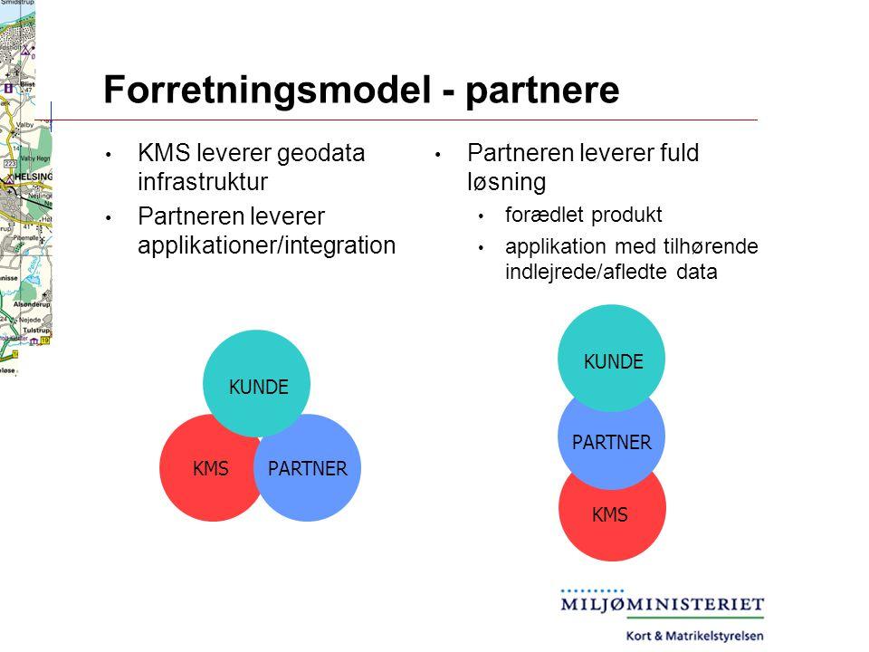 Forretningsmodel - partnere Partneren leverer fuld løsning forædlet produkt applikation med tilhørende indlejrede/afledte data KMS leverer geodata infrastruktur Partneren leverer applikationer/integration PARTNER KUNDE KMS PARTNER KUNDE KMS