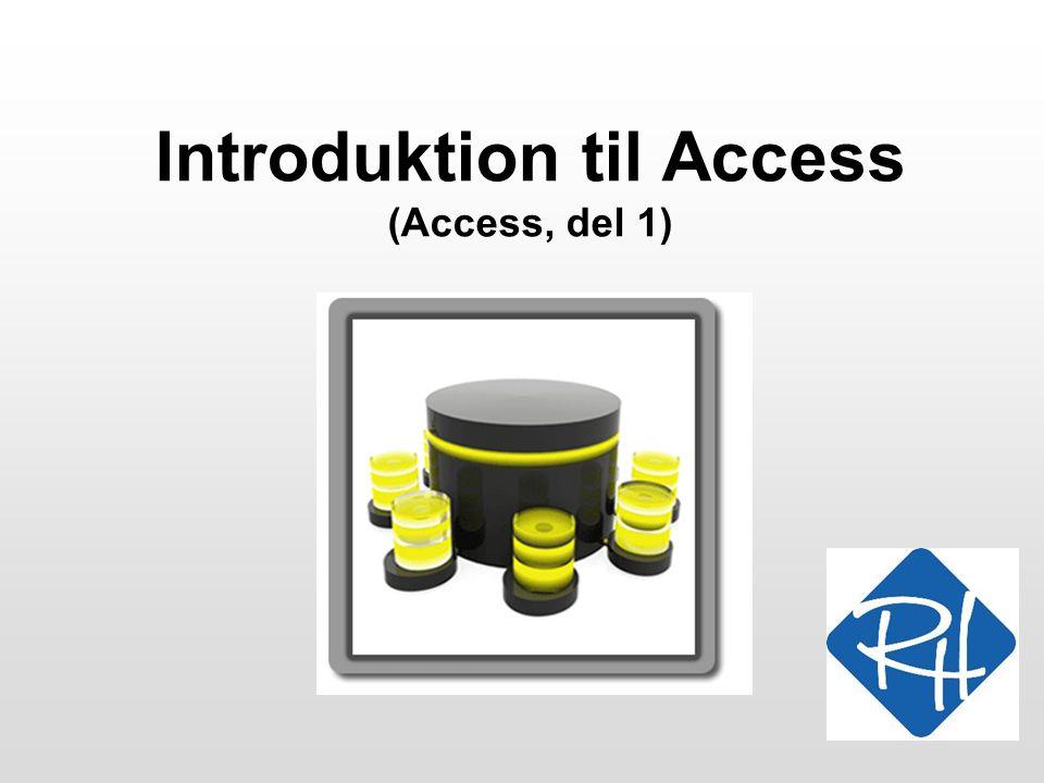 RHS – Informationsteknologi – 2008 22 I gang med Access Husk nu at tage stilling til databasens navn og placering.