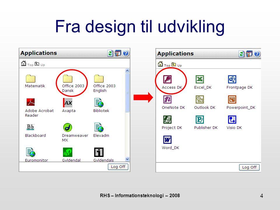 RHS – Informationsteknologi – 2008 25 I gang med Access Nu er databasen oprettet – men er bare en tom skal uden indhold Selve indholdet udgøres af tabeller, formularer, rapporter og forespørgsler Disse udformes i separate arbejdsgange