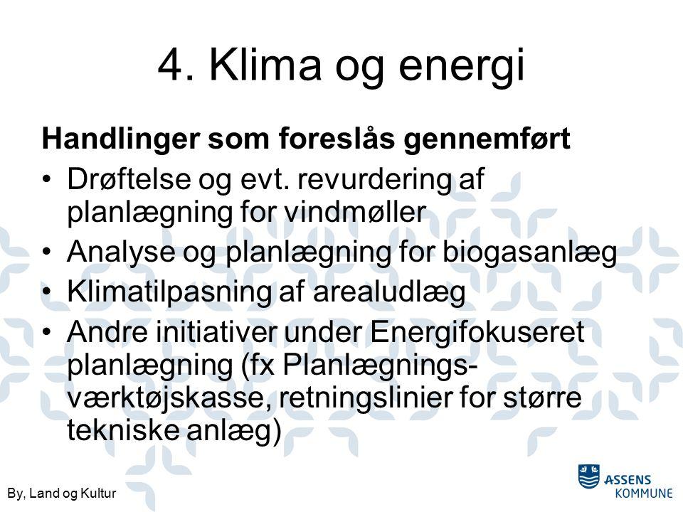 By, Land og Kultur 4. Klima og energi Handlinger som foreslås gennemført Drøftelse og evt.