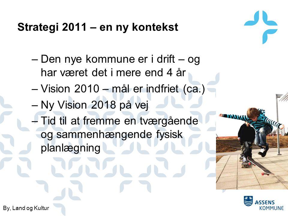 By, Land og Kultur Strategi 2011 – en ny kontekst –Den nye kommune er i drift – og har været det i mere end 4 år –Vision 2010 – mål er indfriet (ca.) –Ny Vision 2018 på vej –Tid til at fremme en tværgående og sammenhængende fysisk planlægning