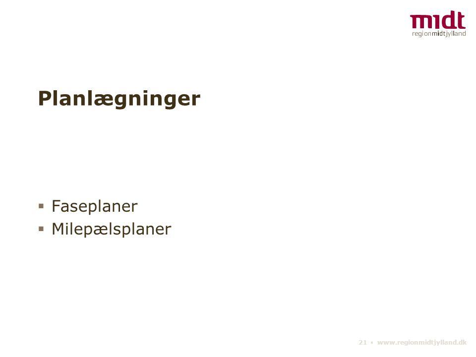 21 ▪ www.regionmidtjylland.dk Planlægninger  Faseplaner  Milepælsplaner