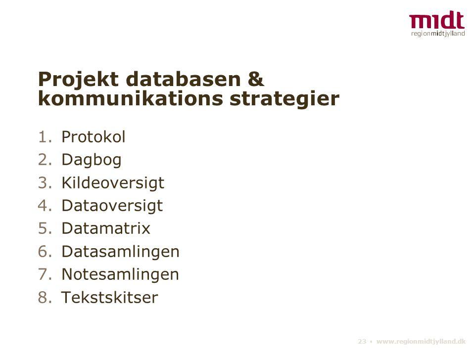 23 ▪ www.regionmidtjylland.dk Projekt databasen & kommunikations strategier 1.Protokol 2.Dagbog 3.Kildeoversigt 4.Dataoversigt 5.Datamatrix 6.Datasamlingen 7.Notesamlingen 8.Tekstskitser