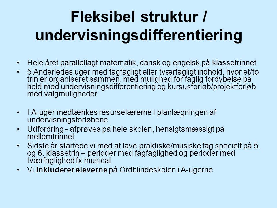 Fleksibel struktur / undervisningsdifferentiering Hele året parallellagt matematik, dansk og engelsk på klassetrinnet 5 Anderledes uger med fagfagligt eller tværfagligt indhold, hvor et/to trin er organiseret sammen, med mulighed for faglig fordybelse på hold med undervisningsdifferentiering og kursusforløb/projektforløb med valgmuligheder I A-uger medtænkes resurselærerne i planlægningen af undervisningsforløbene Udfordring - afprøves på hele skolen, hensigtsmæssigt på mellemtrinnet Sidste år startede vi med at lave praktiske/musiske fag specielt på 5.