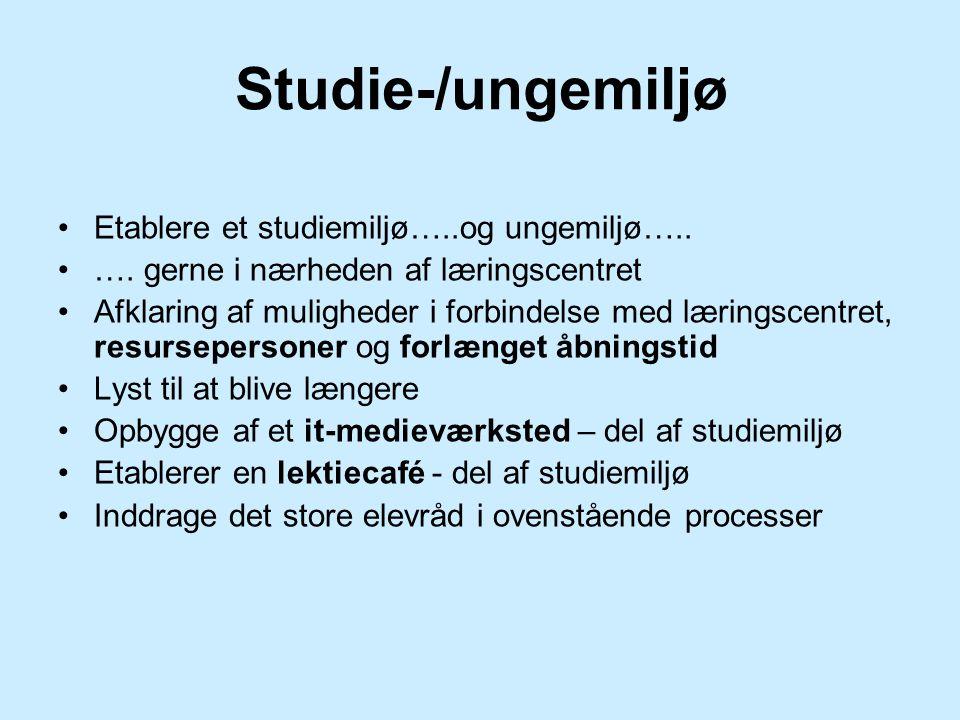 Studie-/ungemiljø Etablere et studiemiljø…..og ungemiljø…..